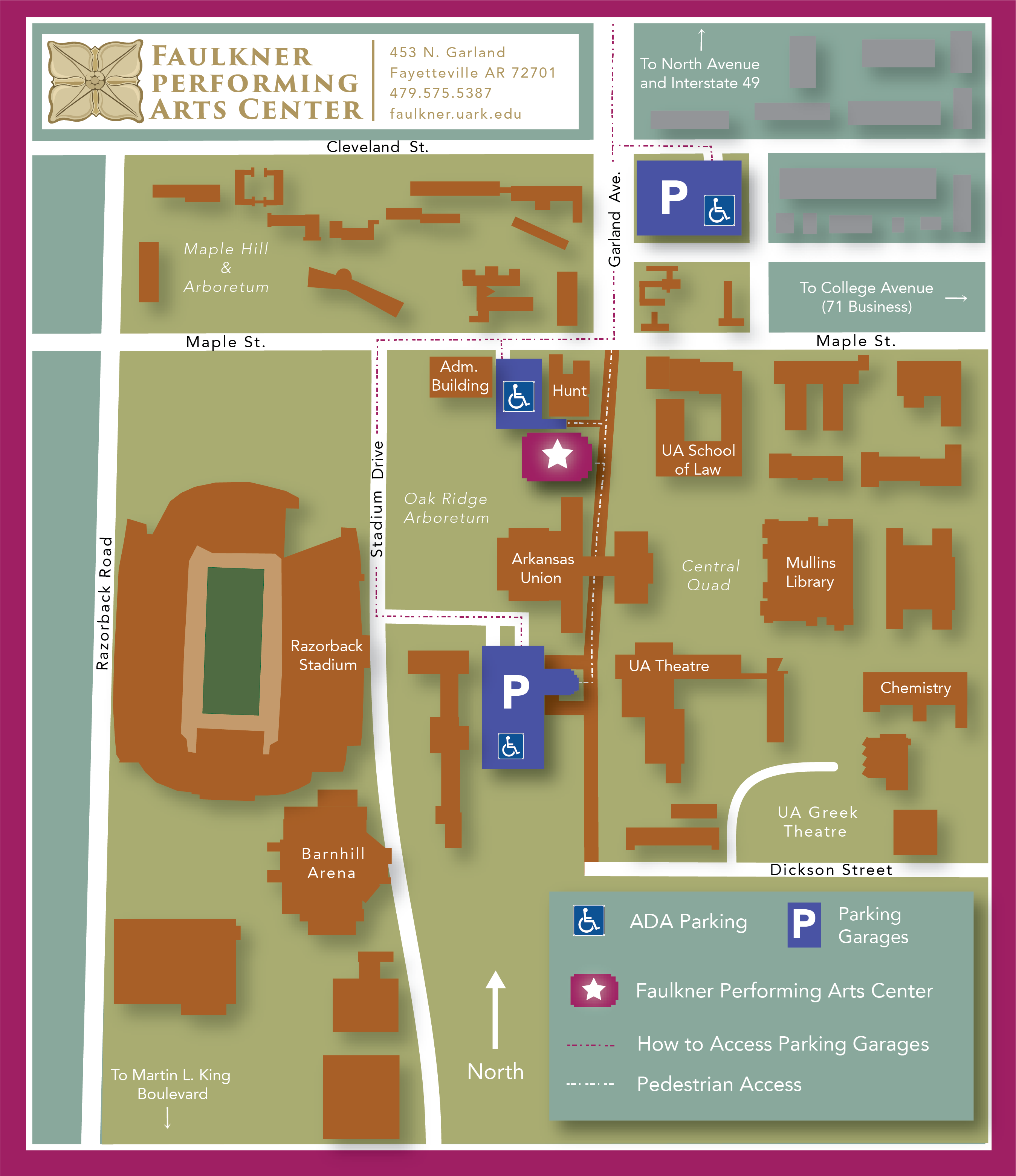 Uark Parking Map Plan Your Visit | Faulkner Performing Arts Center | University of  Uark Parking Map